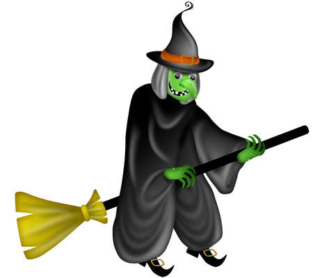 Halloween Witch Flying on Broom Stick Illustration