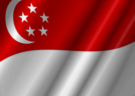 Republic of Singapore Flag Flowing Illustration
