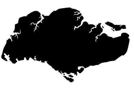 asia map: Republic of Singapore Map Outline Silhouette Illustration Stock Photo
