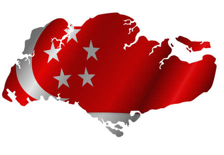 Republic of Singapore Map Outline Silhouette  with Flag Illustration