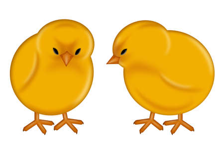 Happy Easter Day Yellow Baby Chicks Illustration