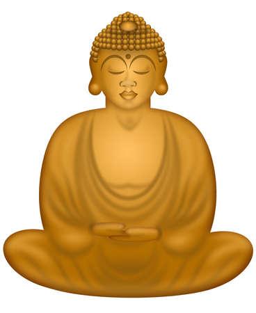 Zen Buddha in Sitting Lotus Position Illustration