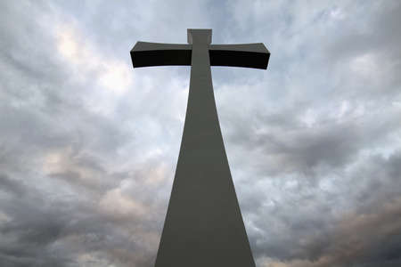 Good Friday Easter Day Cross with Cloudy Sky Background Stock Photo - 9137013