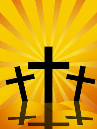 crosses: Good Friday Easter Day Crosses with Sun Rays Background Illustration