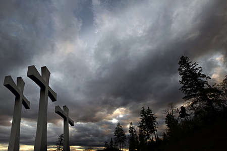 Good Friday Easter Day Crosses with Cloudy Sky and Trees Background