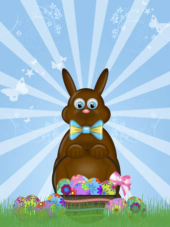 Happy Easter Chocolate Bunny Rabbit with Bow Illustration Stock Illustration - 9137018
