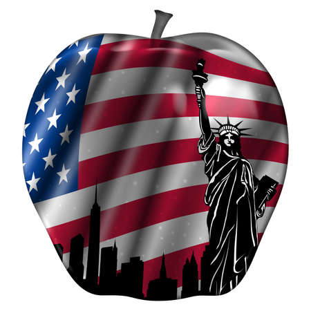 Big Apple met USA vlag en New York standbeeld van Liberty illustratie