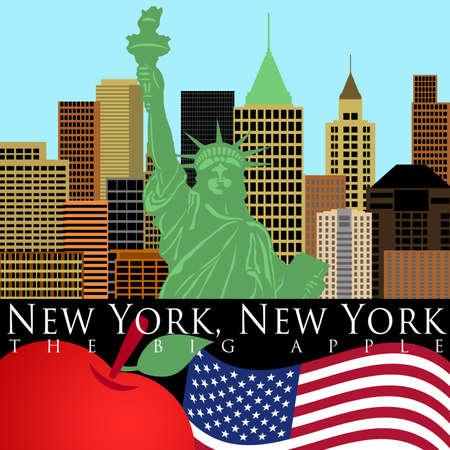 リバティのカラー イラストの像とニューヨーク マンハッタンのスカイライン