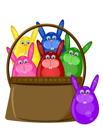 Six Colored Happy Easter Day Bunny Eggs in Basket Illustration illustration