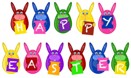 Easter Bunny Eggs Holding Alphabet Letters Greeting Signs Illustration
