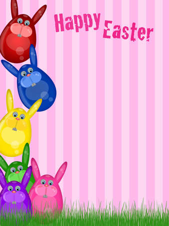 Happy Easter Bunny with Striped Background and Grass Illustration Stock Illustration - 9172051