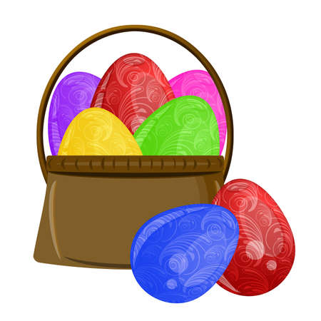 Happy Easter Basket with Scroll Design on Colorful Eggs Illustration Stock Illustration - 9172045