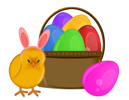 Easter Chick with Bunny Ears Headband and Basket of Eggs Illustration illustration