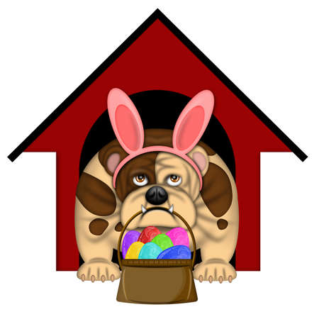 English Bull Dog with Easter Bunny Headband and Egg Basket Illustration illustration