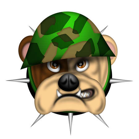 English Bulldog Head with Army Helmet Isolated Illustration