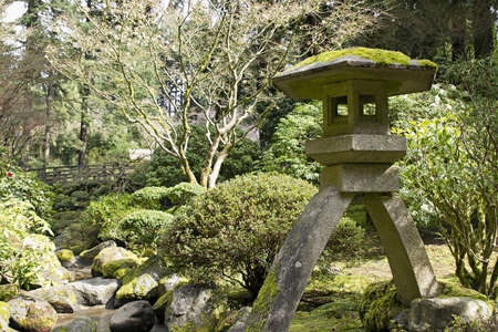 Stone Lantern by the Creek at Portland Japanese Garden Stock Photo