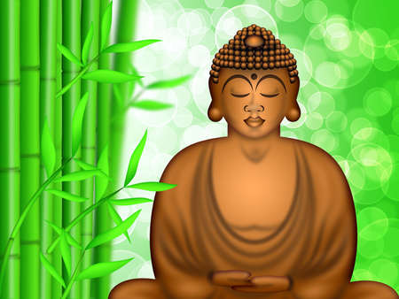 Zen Buddha Meditating by Bamboo Forest Blurred Background Illustration illustration