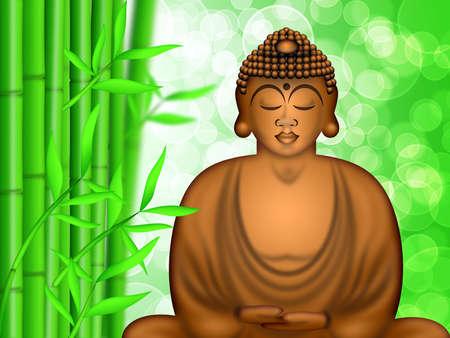 Zen Buddha Meditating by Bamboo Forest Blurred Background Illustration Stok Fotoğraf
