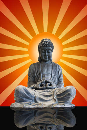 Sitting Full Body Meditating Bronze Buddha Statue with Sun Rays