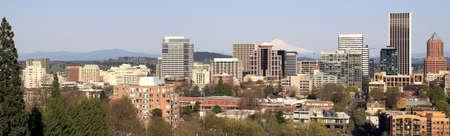 Portland Oregon Downtown Skyline with Mount Hood Panorama photo