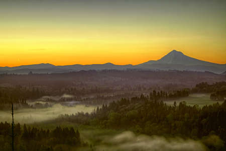 Sunrise Over Mount Hood One Foggy Morning Along Sandy River Bend