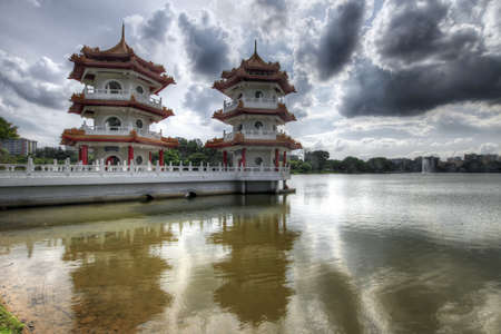 Twin Pagodas at Singapore Chinese Garden Lake
