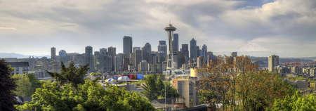 Downtown Seattle Washington Skyline with Mount Rainier Panorama photo