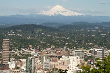 Portland Oregon Downtown Cityscape with Mount Hood Stock Photo