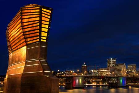 eastbank: Portland Oregon Skyline from Eastbank Esplanade at Night