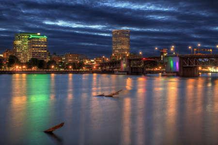 eastbank: Morrison Bridge over Willamette River Portland Oregon at Night