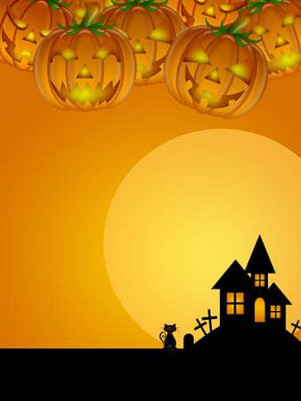 Halloween Carved Pumpkin Black Cat Moon Cemetery Tombstone Tree Illustration