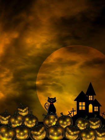 Halloween Carved Pumpkin Patch Black Cat Moon Cemetery Tombstone Illustration