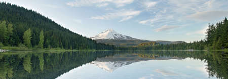 Mount Hood from Trillium Lake Oregon Panorama Stock Photo - 9815227