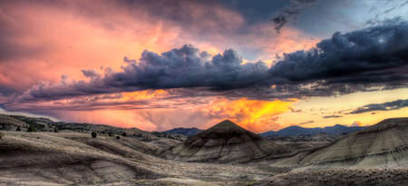 shale: Painted Hills in John Day Fossil Beds National Monument Oregon Sunset Panorama Stock Photo