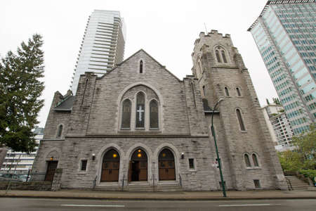 wesley: Historic St Andrews Wesley United Church in Downtown Vancouver BC Stock Photo