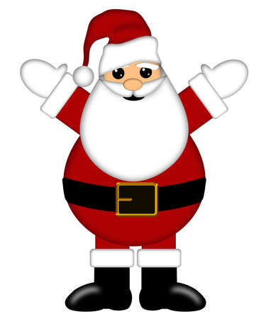 red beard: Santa Claus with Arms Raised Isolated on White Background Illustration