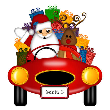 santa suit: Santa Claus and Reindeer in Red Sports Car Delivering Presents Isolated on White Illustration