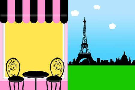 french cafe: Cafe Bistro in Paris Outside Seating with Eiffel Tower Skyline Illustration