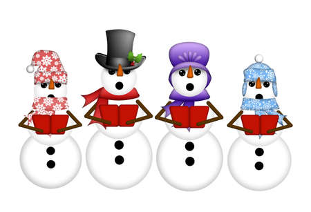 quartet: Snowman Carolers Singing Christmas Songs Illustration Isolated on White Background