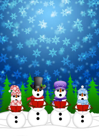 Snowman Carolers Singing Christmas Songs with Snowing Winter Scene Illustration
