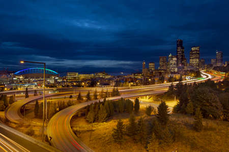 Seattle Washington City Skyline and Freeway Light Trails at Blue Hour photo