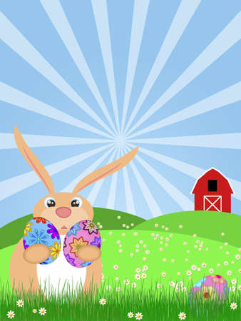 Happy Easter Bunny Rabbit Egg Hunting on Green Pasture with Red Barn Illustration Stock Illustration - 12919052