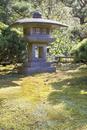 mugo: Japanese Stone Lantern with Trees Shrubs and  Moss