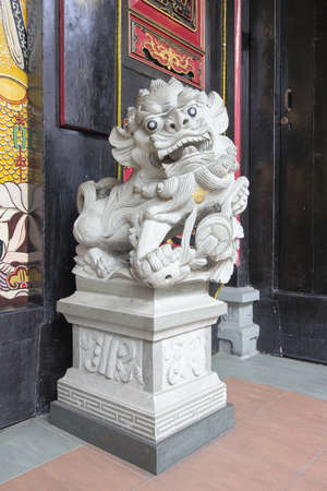 Chinese Foo Dog Temple Male Lion Guardian Marble Stone Sculpture photo