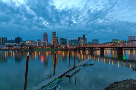 eastbank: Portland Oregon Downtown City Skyline Along Willamette River at Blue Hour After Sunset