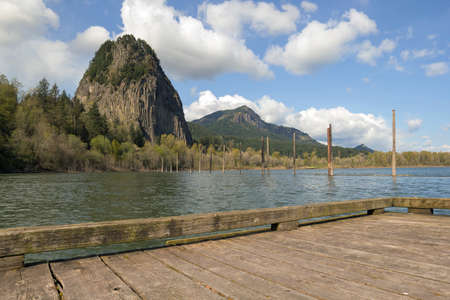 boat dock: Beacon Rock from Boat Dock Moorage in Columbia River Gorge at Washington State Park