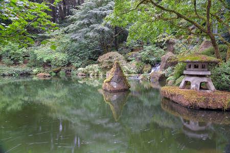 oregon cascades: Stone Lantern by the Pond at Portland Japanese Garden