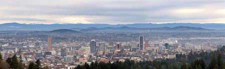 mount hood: Portland Oregon downtown cityscape with Mount Hood Panorama Stock Photo