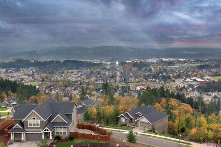 sunnyside: Double rainbows at Happy Valley Oregon in fall season