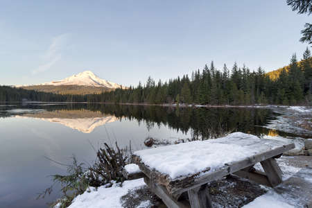 Mount Hood Reflection on Trillium Lake in Oregon during winter